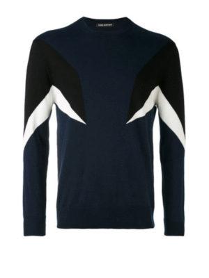 Neil Barrett: crew necks - Color block intarsia cotton sweater