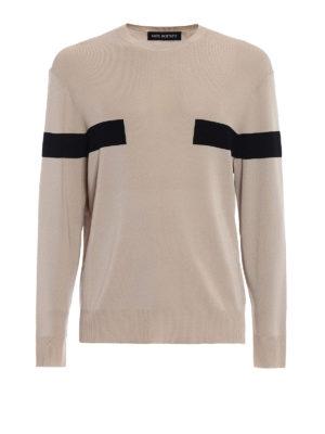 NEIL BARRETT: maglia collo rotondo - Girocollo beige bande a contrasto