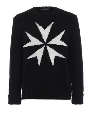 NEIL BARRETT: maglia collo rotondo - Maglione in pesante lana merino con intarsio