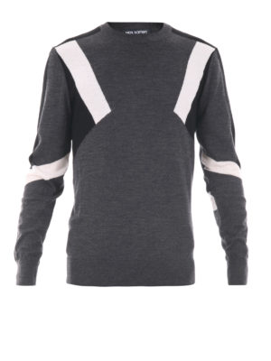 Neil Barrett: crew necks - Inlaid merino wool crewneck