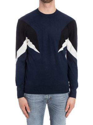 Neil Barrett: crew necks online - Color block intarsia cotton sweater