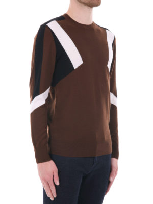 Neil Barrett: crew necks online - Inlaid merino wool crewneck