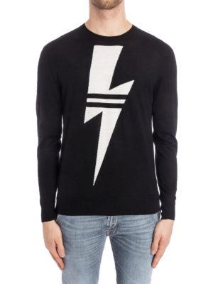 Neil Barrett: crew necks online - Lightning intarsia wool sweater