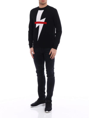 Neil Barrett: crew necks online - Thunderbolt lightweight sweater