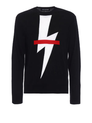 Neil Barrett: crew necks - Thunderbolt lightweight sweater