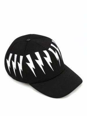 Neil Barrett: hats & caps - Embroidered bolt baseball hat