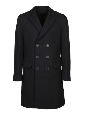 NEIL BARRETT: cappotti al ginocchio - Cappotto doppiopetto in misto lana