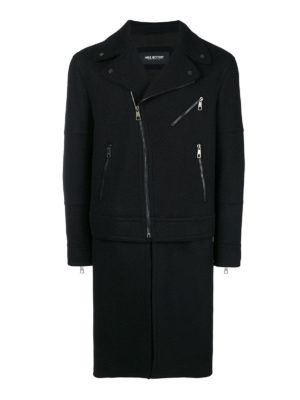 NEIL BARRETT: cappotti al ginocchio - Cappotto in misto lana con chiusura obliqua
