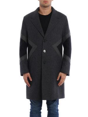 Neil Barrett: knee length coats online - Colour block wool blend coat