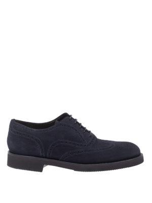 NEIL BARRETT: scarpe stringate - Stringate in camoscio con dettagli brogue