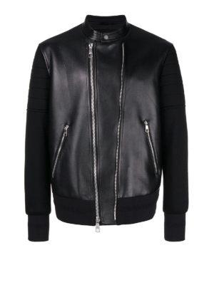 NEIL BARRETT: giacche in pelle - Giacca di pelle con inserti in viscosa