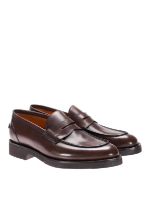 Neil Barrett: Loafers & Slippers online - Rubber sole glossy leather loafers