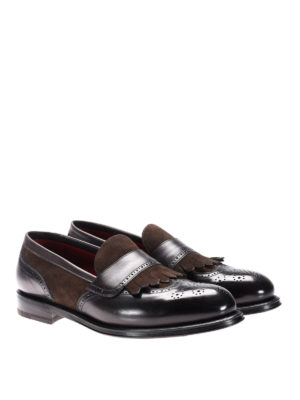 Neil Barrett: Loafers & Slippers online - Suede and leather fringed loafers