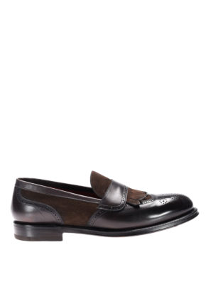 Neil Barrett: Loafers & Slippers - Suede and leather fringed loafers