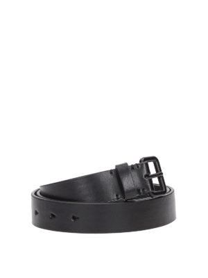 NEIL BARRETT: cinture online - Cintura con fibbia tono su tono in pelle
