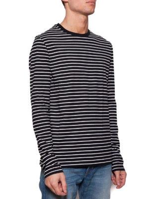 NEIL BARRETT: maglia collo rotondo online - Maglia girocollo in cotone a righe