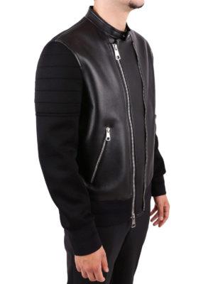 NEIL BARRETT: giacche in pelle online - Giacca di pelle con inserti in viscosa