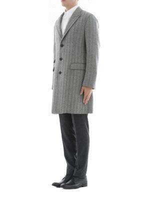 NEIL BARRETT: cappotti corti online - Cappotto in lana motivo spigato