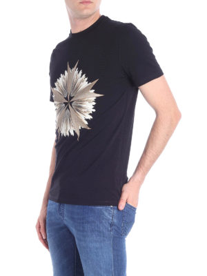 NEIL BARRETT: t-shirt online - T-shirt in cotone stretch stampa a contrasto