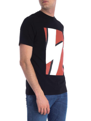 NEIL BARRETT: t-shirt online - T-shirt in cotone stretch con stampa fulmine