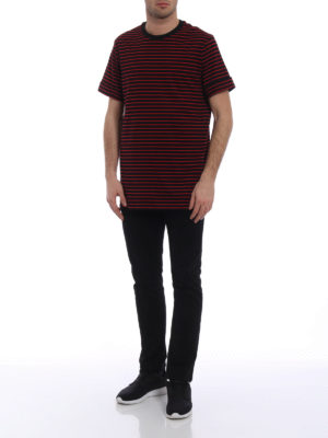 NEIL BARRETT: t-shirt online - T-shirt over in cotone a righe