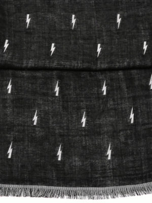 Neil Barrett: scarves online - Thunderbolts patterned scarf