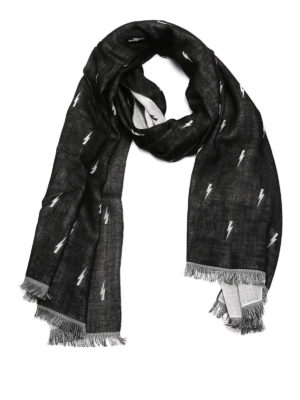 Neil Barrett: scarves - Thunderbolts patterned scarf