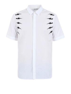 Neil Barrett: shirts - Lightning bolt print cotton shirt