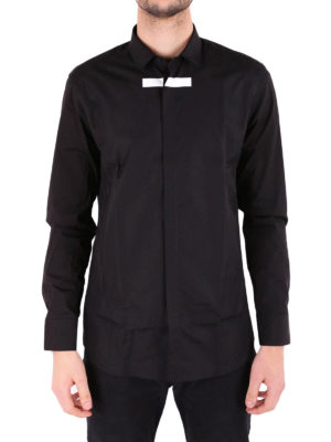 Neil Barrett: shirts online - Contrasting black band cotton shirt