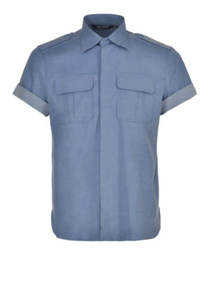 Neil Barrett: shirts - Short sleeved melange shirt