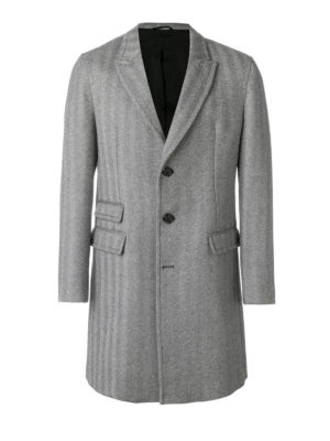 Neil Barrett: short coats - Herringbone pattern wool coat
