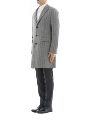 Neil Barrett: short coats online - Herringbone pattern wool coat