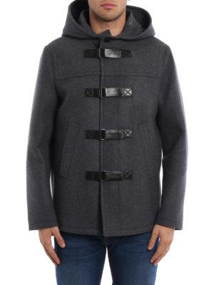 Neil Barrett: short coats online - Slim fit hooded duffle coat