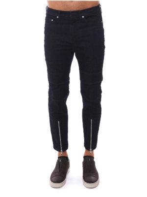 Neil Barrett: skinny jeans online - Zipped cuffs biker jeans