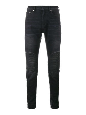Neil Barrett: straight leg jeans - Faded denim biker jeans