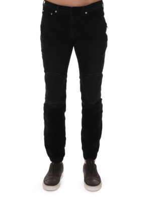 Neil Barrett: straight leg jeans online - Faded denim biker jeans