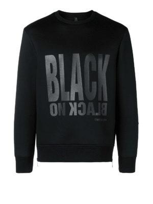 NEIL BARRETT: Felpe e maglie - Felpa con stampa Black on Black tono su tono
