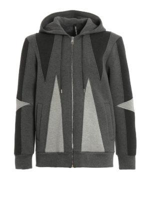Neil Barrett: Sweatshirts & Sweaters - Colour block scuba fabric hoodie
