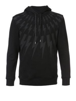 Neil Barrett: Sweatshirts & Sweaters - Lightnings print black hoodie