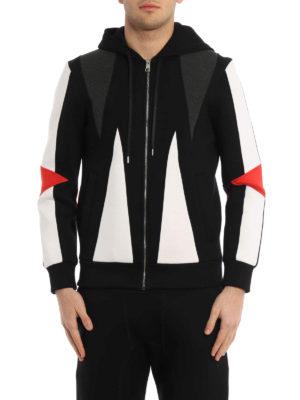 Neil Barrett: Sweatshirts & Sweaters online - Colour block scuba fabric hoodie