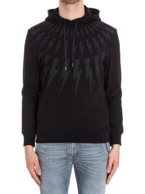 Neil Barrett: Sweatshirts & Sweaters online - Lightnings print black hoodie