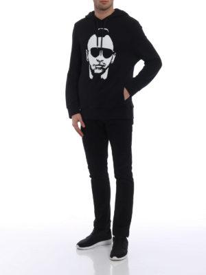 Neil Barrett: Sweatshirts & Sweaters online - Punk print black cotton hoodie