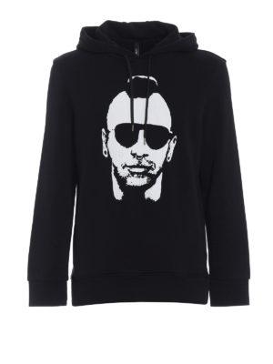 Neil Barrett: Sweatshirts & Sweaters - Punk print black cotton hoodie