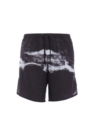 Neil Barrett: Swim shorts & swimming trunks - Abstract print nylon swim shorts