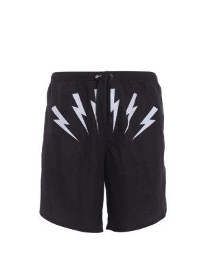 Neil Barrett: Swim shorts & swimming trunks - Lightning print nylon swim shorts