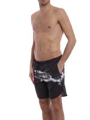 Neil Barrett: Swim shorts & swimming trunks online - Abstract print nylon swim shorts