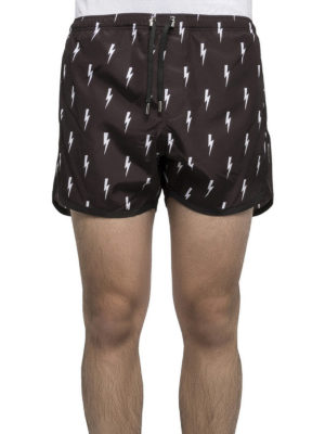 Neil Barrett: Swim shorts & swimming trunks online - Thunderbolt printed swim short