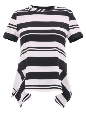 Neil Barrett: t-shirts - Asymmetrical striped silk T-shirt