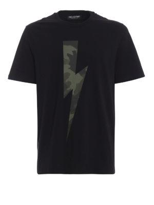 NEIL BARRETT: t-shirt - T-shirt con stampa fulmine camouflage
