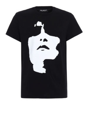 Neil Barrett: t-shirts - Face print cotton T-shirt